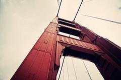 Golden Gate Tower (Leighton Wallis) Tags: sanfrancisco california birthday ca bridge usa tower bay rivets unitedstatesofamerica goldengatebridge suspensionbridge internationalorange 75thanniversary ggnpc11