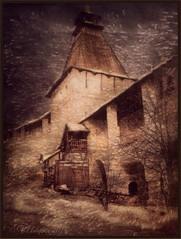 Borovsk . Monastery. (odinvadim) Tags: church landscape evening graphic textures textured obninsk iphoneart iphoneography iphoneonly snapseed painterlymobileart