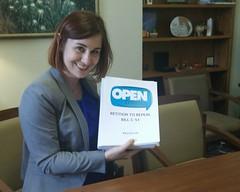 Laura with the Petition (m.gifford) Tags: parliament openmedia parliamenthill centreblock billc51 killbillc51