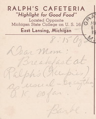 """SE East Lansing MI 1940s RALPHS CAFETERIA opposite Michigan State COLLEGE on US-16 MOTTO - HIGHLIGHT FOR GOOD FOOD Dinners Steaks Chops Snadwiches Hamburgs93 (UpNorth Memories - Donald (Don) Harrison) Tags: travel usa heritage history tourism st vintage antique michigan postcard memories restaurants hotels trailer roadside upnorth steamship cafes excursion attractions motels mackinac cottages cabins campgrounds city"""" bridge"""" island"""" """"car upnorthmemories rppc wonders"""" """"big """"railroad """"michigan memories"""" mac"""" """"state parks"""" entertainment"""" """"natural harrison"""" """"roadside ferry"""" """"travel """"don """"tourist """"mackinaw puremichigan stops"""" """"upnorth straits"""" ignace"""""""