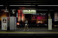 Tokyo 3962 (tokyoform) Tags: city chris people urban woman hot public girl station sign japan canon dark walking japanese tokyo asia alone metro femme platform ciudad jr east transit tquio   japo mass rapid japon giappone ville citt seul uguisudani tokio  6d jepang japn stride    jr    jongkind    chrisjongkind tokyoform