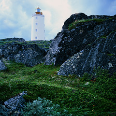 Tersko-Orlovskii lighthouse, White sea, Russia. - ,  ,  (Iurii & Natali) Tags: old sea lighthouse white color tower 6x6 film rollei vintage fuji russia slide velvia format analogue middle russian beacon fyr distant