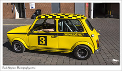 Classic Mini Scalextric Yellow (Paul Simpson Photography) Tags: cars lincolnshire lincoln iconic carshow toycar bluecar scalextric smallcar yellowmini photosof imageof photoof imagesof minigt classicbritish sonya77 paulsimpsonphotography april2016