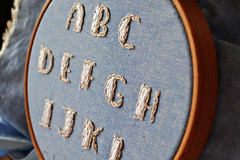 ABC embroidery alphabet (Pumora) Tags: back stitch embroidery abc alphabet chambray sidetoside