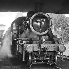 Departure From Loughborough (Dave&Bev) Tags: railroad blackandwhite heritage monochrome vintage outdoor smoke dramatic steam nostalgia squareformat loughborough gcr trainrailway 46521