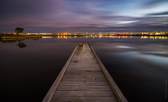 **The Jetty at Twilight** (damian.mccudden1) Tags: longexposure nature water clouds canon buildings reflections lights landscapes movement twilight fineart australia qld sunshinecoast calmness samyang lakekawana