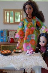 Making a Party with Mommy (Emily1957) Tags: caligirlchristie tinybetsymccall lace belgianlace paella macarons miniature dolls doll barbie mattel fashion flowerwower mod toys toy light naturallight nikond40 nikon kitlens blackdoll blackbarbie ifemelu miniaturediningroom frut444