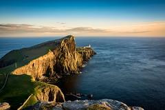 Neist Point (cliveg004) Tags: blue sunset sea sky lighthouse skye coast scotland rocks cliffs neistpoint