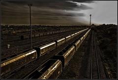 Vanishing point (Blaydon52C) Tags: sun lines yard point gold evening rail browns vanishing wagons tees gbrf