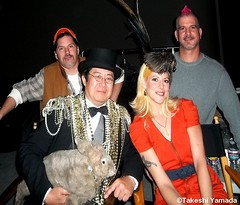 Four Immortalizers: (L-R) Page Nethercutt, Dr. Takeshi Yamada with Seara (sea rabbit), Beth Beverly, and Dave Houser of Immortalized, the AMC new unscripted original television series. Los Angels, California. November 18, 2012 (searabbits23) Tags: ca ny newyork sexy celebrity art hat fashion animal brooklyn asian coneyisland japanese star tv google king artist dragon god vampire famous gothic goth uma ufo pop taxidermy vogue cnn tuxedo bikini tophat unitednations playboy entertainer oddities genius mermaid amc mardigras salvadordali performer unicorn billclinton billgates aol vangogh curiosities sideshow jeffkoons globalwarming mart magician takashimurakami pablopicasso steampunk losangels damienhirst cryptozoology freakshow leonardodavinci realityshow seara immortalized takeshiyamada roguetaxidermy searabbit barrackobama ladygaga climategate