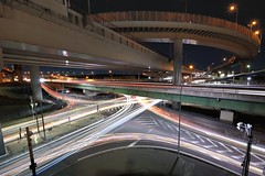 Intense light stream (Shin-Nagoya) Tags: longexposure japan ic lowlight highway asia crossing junction freeway nightview nightphoto expressway   aichi afterdark interchange lighttrail lightstream jct localstreet carlighttrail nightcityscape  afsnikkor1424mmf28g