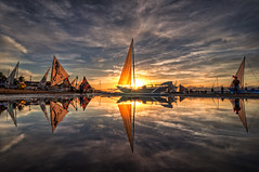 Paraw Regatta Sunrise in HDR (benchorizo) Tags: sunrise reflections nikon philippines sailboats hdr banias d90 iloilocity benchorizo parawregatta2012