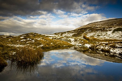 WINTER REFLECTIONS, BRECON BEACONS NATIONAL PARK, WALES. (IMAGES OF WALES.... (TIMWOOD)) Tags: park wood winter sunset snow mountains pool grass rock wales reflections reeds countryside tim gallery sony south www hills national com alpha brecon beacons mid bridgend a700