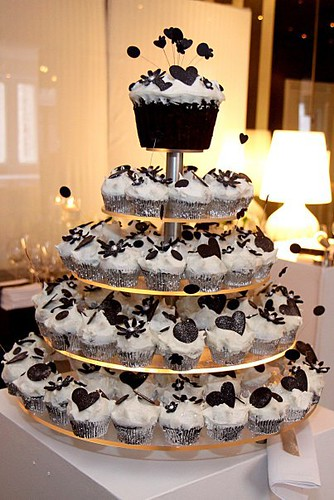 Wicked Chocolate black & white wedding cupcake tower iced in white ...