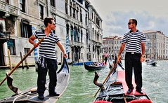 come to venice, these gondoliers will take you for a ride (Rex Montalban Photography) Tags: venice italy europe venezia hdr gondoliers photomatix rexmontalbanphotography