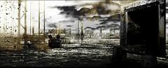 et la poussiere qui continue de tomber (laboratoire de l'hydre) Tags: old city urban blackandwhite terrain collage architecture photoshop noiretblanc photomontage paysage exploration vague plage ville abandonned ancien banlieue tempte moutiers radeau scenographie envol exploratio naufrags