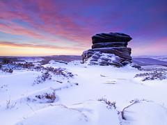 Pre-dawn light over Mother Cap (Stephen Elliott Photography) Tags: winter snow district derbyshire over mother peak cap feb tor owler