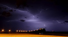 Spark (pominoz) Tags: storm beach weather clouds newcastle lights nsw lightning nobbys