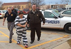 lead away in stripes (Inmate_Stripes) Tags: woman female court stripes prison jail shackles cuffs prisoner