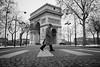 Winter Promenade in Paris (Airicsson) Tags: street urban blackandwhite bw man paris silhouette vintage lumix panasonic g3 avenue champsélysées crossingstreet foch