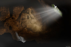 Free Your Mind... (Noro8) Tags: city light water statue photoshop underground rocks place exploring free atmosphere hidden your forgotten mind brushes cave noro8