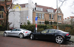 Double Fisker Karma (Jeroenolthof.nl) Tags: old two amsterdam electric oudzuid jeroen photographer south automotive double karma twice range oud henrik jordaan zuid extender fisker olthof jeroenolthofnl jeroenolthof