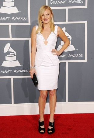 MALIN AKERMAN Deep V Neck Sheath White 2012 Grammy Celebrity Evening Dresses