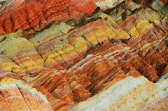Danxia Landform   (Melinda ^..^) Tags: china sunset nature rock gold golden hill mel formation layers melinda gansu  landform danxia zhangye   chanmelmel danxialandform