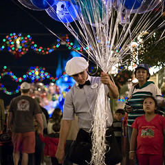 The Balloon Vendor - Explore (Light Echoes) Tags: fall night orlando nikon mainstreet florida balloon disneyworld vendor wdw waltdisneyworld magickingdom 2011 d90 balloonvendor