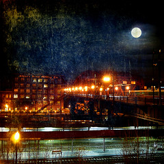 paint the moon (1crzqbn) Tags: longexposure color reflections square cityscape shadows nightshot 7 fullmoon handheld pdx unionstation ie legacy shining willametteriver sincity emptybench broadwaybridge hss hcs vividim