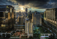 Sunrise over Vancouver BC Downtown - HDR (David Gn Photography) Tags: city morning travel light sky sun canada tourism skyline vancouver clouds sunrise buildings hotel downtown cityscape bc view britishcolumbia rays hdr sunflare 3xp canoneos60d sigma1020mmf35exdchsm