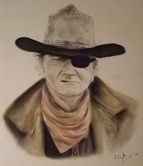 Actor John Wayne as Rooster Cogburn in the western True Grit (fitzjim) Tags: from old original horses horse celebrity hat drunk scarf john movie star marine cowboy funny gun track artist shot action character coat wayne rifle rollerderby rifles western bite actor guns marines drama reward snakes hang remake crabby tracking hung johnwayne bombers sloppy theduke sequel mattdamon academyaward jeffbridges robertduvall goldenglobe glencampbell bestactor roostercogburn barrypepper truegrit jimfitzpatrick bestsong kimdarby joshbrolin rideoffintothesunset hangged theshootist haileesteinfeld eyepatchcowboy usmarshalroostercogburn