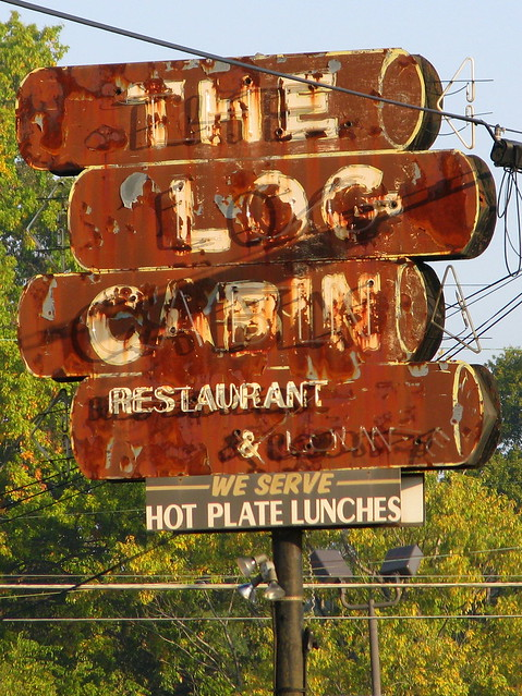 The Log Cabin Restaurant neon sign - Frayser, TN