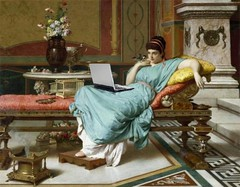 A Pompeian Beauty, Blogging, after Raffaele Giannetti (Mike Licht, NotionsCapital.com) Tags: art women paintings computers blogs blogging pompeii laptops anachronism italianart giannetti italianartists mikelicht notionscapitalcom historicalpaintings raffaelegiannetti academicpaintings