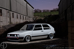Tims White Volkswagen Golf GTi Mk2 On BMW M1 Wheels (NWVT.co.uk) Tags: world uk light white sports car by vw golf volkswagen studio photography nikon long exposure ride williams m1 painted air nick wheels wide performance automotive bmw incar mk2 gti sic shakey on d300 bagged baged nwvt accuair