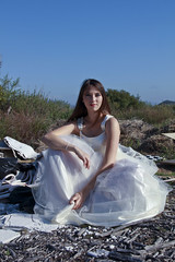 Princess of Rubbish (intuned_gato) Tags: wedding trash canon sticks model dress sandiego princess rubbish sagebrush emptylot 60d