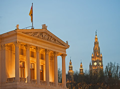 Parliament and Rathaus (Banana Muffin (Antonio)) Tags: vienna wien park city blue sky sculpture building art architecture austria nikon downtown flag parliament center hour rathaus athena d700