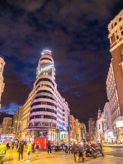 Blue Hour at Callao (Aimless Alliterations) Tags: madrid city travel lights evening spain espana bluehour granvia plazadelcallao fujifilmx10