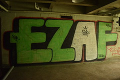 EZAF (TheGraffitiHunters) Tags: street pink white black building green art abandoned train graffiti colorful paint bricks tracks spray blocks cinder ezaf