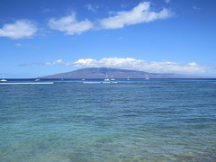 Lana'i from Lahaina (altfelix11) Tags: ocean clouds hawaii surf maui pacificocean lahaina lanai frontstreet