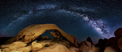 Arch and Milkyway (Aydin T. Palabiyikoglu) Tags: ca sky usa nature rock night digital stars arch space joshuatree rocky panoramic midnight nightscene campground stitched constellation afterdark panaroma whitetank darksky milkyway rockformation naturalarch archrock