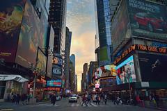 Sunset in Times Square, New York. (Carlos Arriero) Tags: street city travel sunset people urban newyork color colour colors landscape atardecer calle amrica nikon cityscape gente ciudad paisaje personas timessquare urbana urbano tamron viajar estadosunidos nuevayork 2470mm d800e carlosarriero