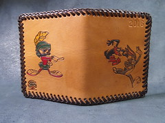 Custom Leather Wallets (NYshutterbug) Tags: new wood york blue original red brown color bunny classic yellow america for duck carved beige hand sale top connecticut grain super vegetable bugs superman retro made american kangaroo hero batman jersey colored daffy standard marvin stitched comicon martian tanned minions condition