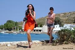 Lindos Rodos (Eleanna Kounoupa) Tags: street blue beach women mediterranean greece rodos lindos     dodecaneseislands