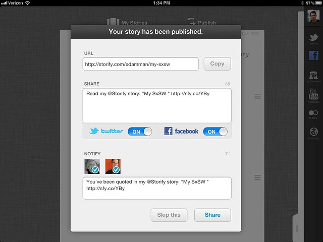 Storify for the iPad 2