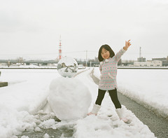 Saturday Night Snowman (Toyokazu) Tags: family portrait snow girl kids snowman child fever pentax67