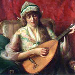 "<b>Girl with Lute</b><br/> Arvid Frederick Nyholm (1866-1927) ""Girl with Lute"" Oil, ca. 1900-1920 LFAC #060<a href=""http://farm8.static.flickr.com/7193/6779984702_b9771180d8_o.jpg"" title=""High res"">∝</a>"