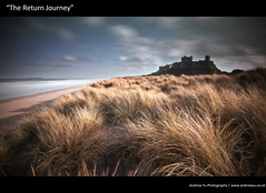 """The Return Journey"" (awhyu) Tags: seascape castle grass long exposure northumberland coastline bamburgh marram"