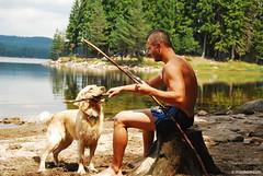 best friend (.:: Maya ::.) Tags: camping trees dog mountain lake playing man golden woods retriever bulgaria     rhodope     mayaeye mayakarkalicheva