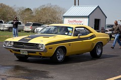 1971 Challenger R/T (Bill Jacomet) Tags: park classic yellow drag 1971 texas run 71 racing 2nd legends and nostalgic dodge rod mopar motorsports lonestar rt challenger drags dragracing cruisers 2012 sealy 50ees niftee